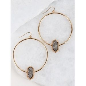 Jewelry - ✨SALE!✨5⭐️NEW! GRAY HEMATITE DRUZY HOOP EARRINGS